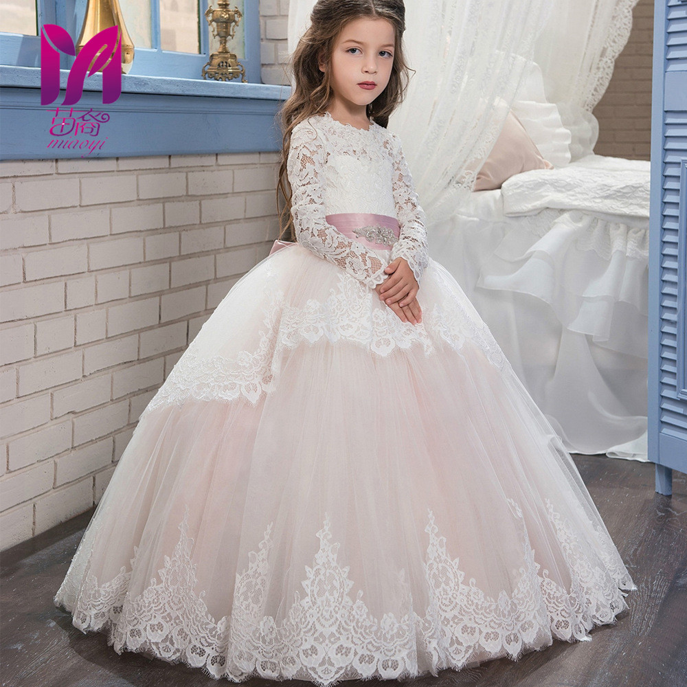 New lace long sleeves autumn and winter dance flower bubble sleeves girl dress Dresses 2-8Year pink lace up design cold shoulder long sleeves hoodie dress