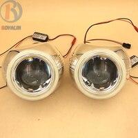ROYALIN Car LED Full Metal H1 DRL Projector Headlights Angel Eyes Universal H4 H7 Lights Lens Retrofit White Halo Rings Lamp DIY