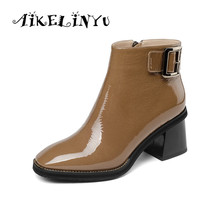 AIKELINYU Winter New Fashion Genuine Leather Square Heel Ladies Boots Casual Outside Toe Shoes Basic Med Women