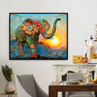 Full Round Diamond Painting 5D Diy Colorful Elephant Embroidery Stitch Painting Resin Diamond Picture Mosaic Home Decor Gift