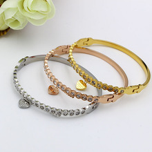 New Fashion Yellow Gold/rose Gold Color Heart Love Bracelet With Crystal Heart-shaped  Female Bracelets & Bangles For Women