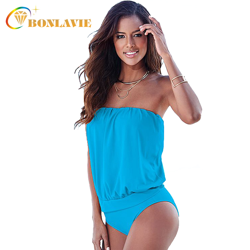 2017 One Piece Swimsuit Tankini Plus Size Swimwear Women Sexy Bandeau Bikini Bathing Suits Vintage Female Beach Swimsuit