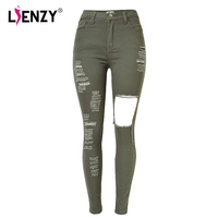 LIENZY Summer High Wasit Army Women Long Jeans Ripped Hole Fashion Bodycon Sexy Slim Pencil Jeans