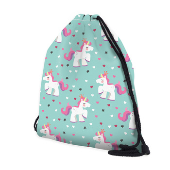 Drawstring Bag Unicorn Printed for Summer Travelling