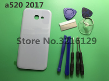 1pcs Original Rear Panel Battery Glass Back Door Cover For Samsung Galaxy 2017 A5 A520 A520F Pre-adhesive stickers+tools