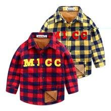Boy's 2016 new children's clothing grid coat lapel cotton shirt baby autumn/winter coat with velvet children shirt