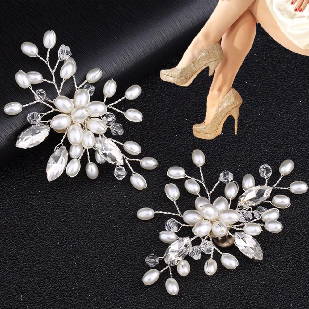 EYKOSI 2Pcs Elegant Rhinestone Pearl Shoes Clips Flower Dress Hat Wedding Party Fashion