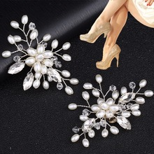 EYKOSI 2Pcs Elegant Rhinestone Pearl Shoes Clips Flower Dress Hat Wedding Party Fashion