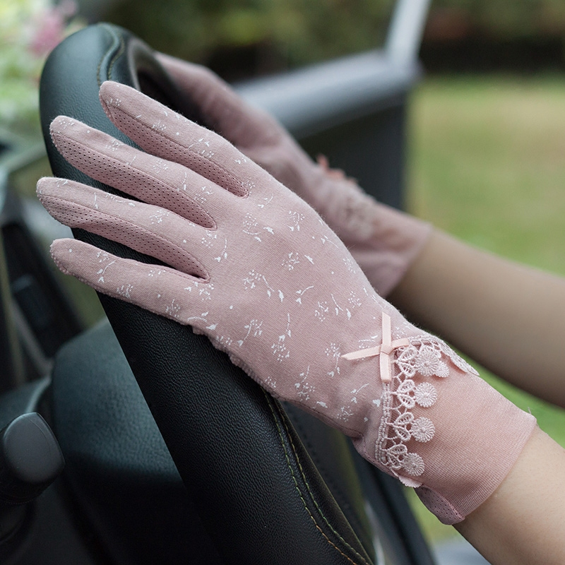 Lady Lace Gloves Girls Summer Sunscreen Mittens Women's Cotton Breathable Floral Short Drive Outdoor Guantes Luva Feminina B8357