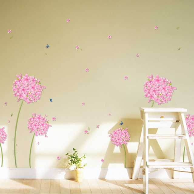 Dandelion Pattern Pink Wall Stickers Pastoral Marriage Room Bedroom Cozy  Living Room TV Sofa Background Plant