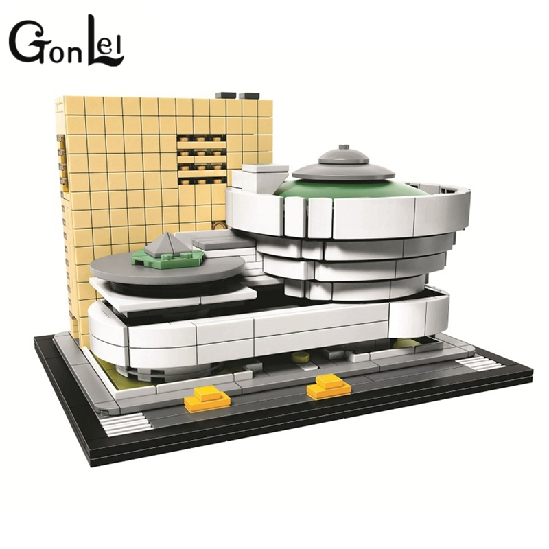 GonLeI 10679 Architecture series the Guggenheim Museum Model Building Blocks Compatible legoings 21035 Classic House Toys loz lincoln memorial mini block world famous architecture series building blocks classic toys model gift museum model mr froger