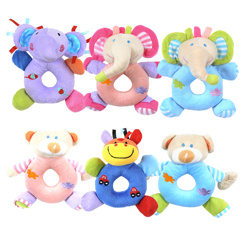 Soft Plush Newborn Baby Toys Rattle Mobiles Cartoon Animal Stuffed Hand Bell Infant Todder Soft Plush Stuffed Toys Hand Grab Toy