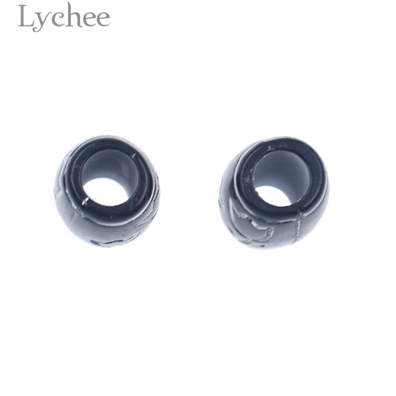 Lychee 15pcs/lot Vintage Plastic White Flower Carved Black Hair Braid Dread Dreadlock Beads Cuffs Clips Headwear Accessories