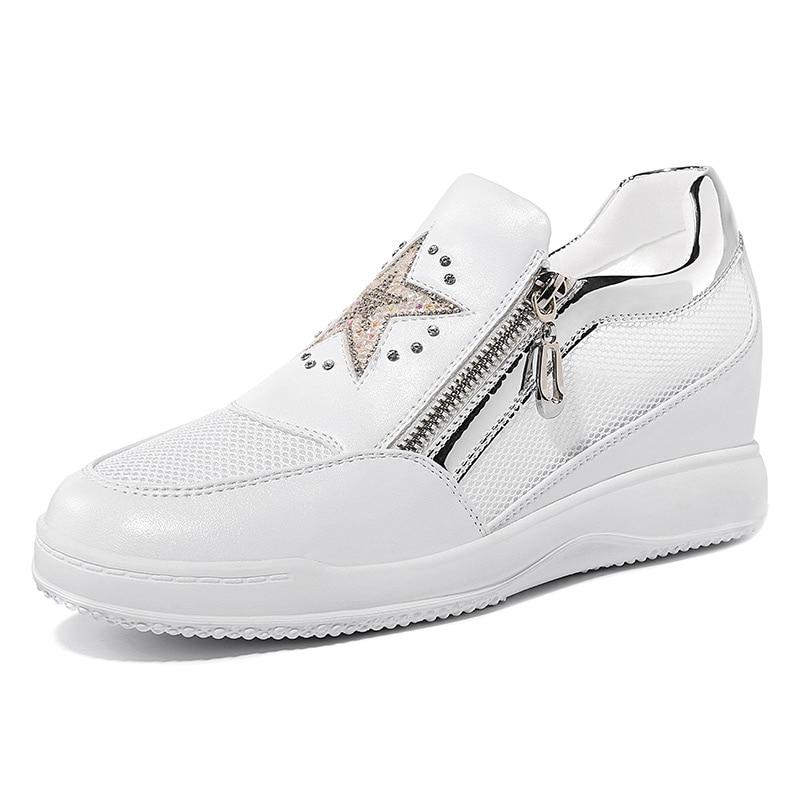 ФОТО Women's Black White Star Upper Platform Mesh Breathable Work Party Travel Lady Girl Flats Shoes