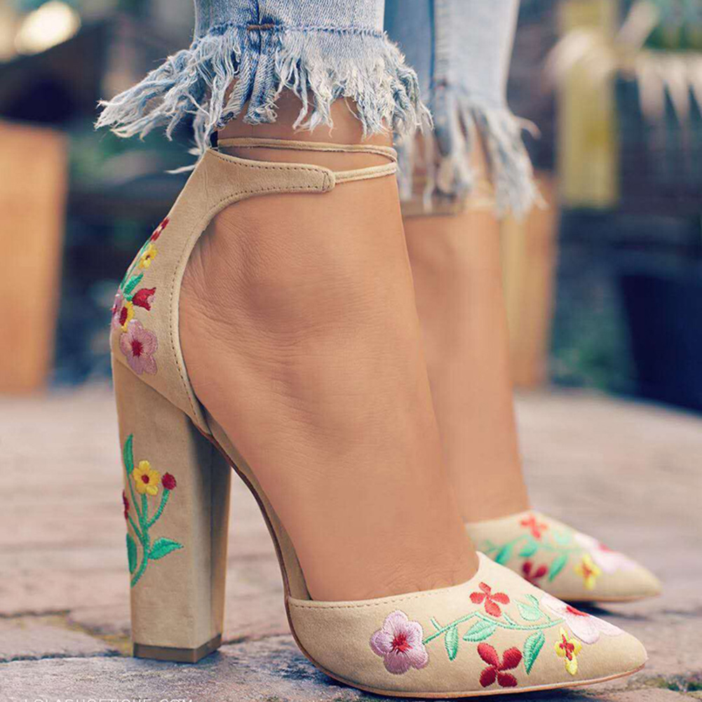 Fashion Flower Embroidered Women Pumps High Heels Pointed Toe Women suede ankle strap sandals Elegant Office Ladies Shoes Women ankle strap chunky elegant cool designer pointed toe pink high heels sandals women fashion 2018 summer shoes cross pumps closed
