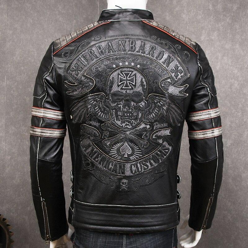 HARLEY DAMSON Vintage Black Men Biker's Leather Jacket XXXXL Embroidery Skull Pattern Genuine Cowhide Slim Fit Motorcycle Coat