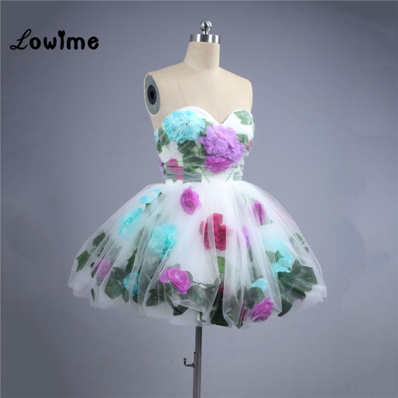 New Short Cocktail Dresses For Juniors 2019 Sweetheart Prom Dresses With 3d Appliques Homencoming Dresses Soft Tulle Custom Made