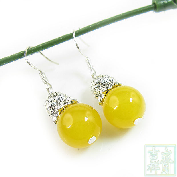 Tibetan Silver Yellow Jade Earrings Ethnic Fashion 925 White Fungus Hook Free Shipping Gifts For Women Three Color Options In Drop From Jewelry