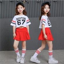 Niñas fresco suelta salón de Hip Hop danza Jazz traje competencia ropa para  niños trajes cosecha camiseta falda 91d688eddd7
