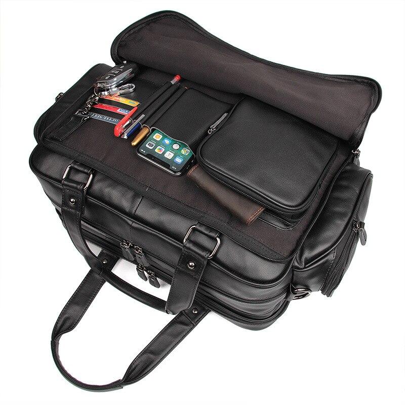 Nesitu черный большой Ёмкость из натуральной кожи Для мужчин Портфели Курьерские Сумки 15,6 ''портфель для ноутбука Бизнес дорожная сумка M7150