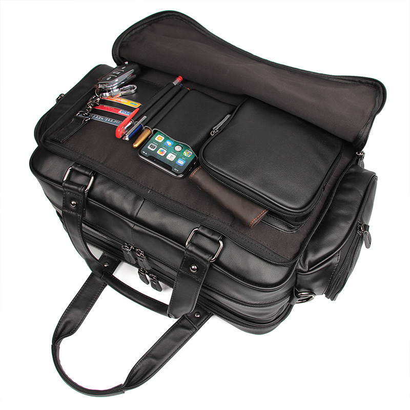 Nesitu Black Large Capacity Genuine Leather Men Briefcase Messenger Bags 15.6'' Laptop Portfolio Business Travel Bag M7150