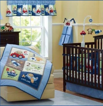 Discount! 7pcs Embroidered cot bedding set crib bed set cartoon baby crib set ,include(bumpers+duvet+bed cover+bed skirt)