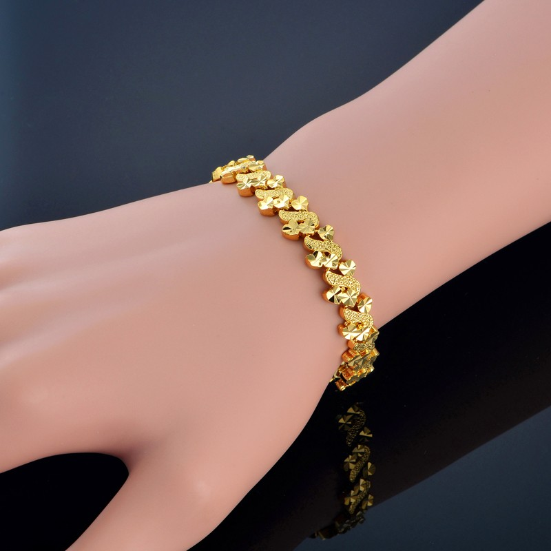 Для женщин Браслеты сердце прелести браслет для Для женщин Дизайн 8 мм Винтаж золото Цвет Шарм Браслеты золото женских украшений