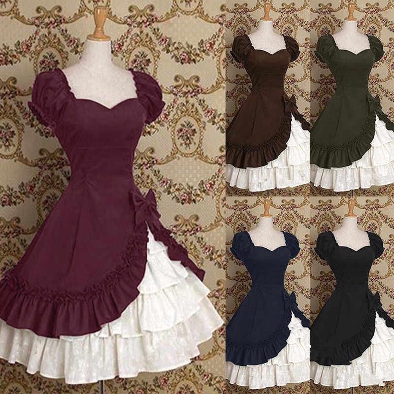 Женское классическое платье лолиты горячее готическое черное многослойное кружевное Хлопковое платье с короткими рукавами косплей костюмы Лолиты Вечерние платья на Хэллоуин