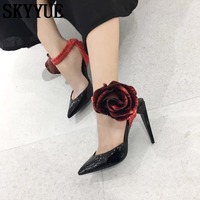 2018 SKYYUE Genuine Leather Pointed Toe Women HIgh Heels Floral Pointed Toe Summer Pumps Shoes Women