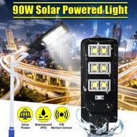 Outdoor 90W Waterproof Wall Street Light Solar Powered PIR Motion Light With Remote Control for Garden Yard Street Flood Lamp
