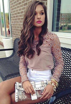 Fashion Women Sexy Lace Crochet Embroidery Tops Long Sleeve Shirt Casual Blouse Femme  Shirt
