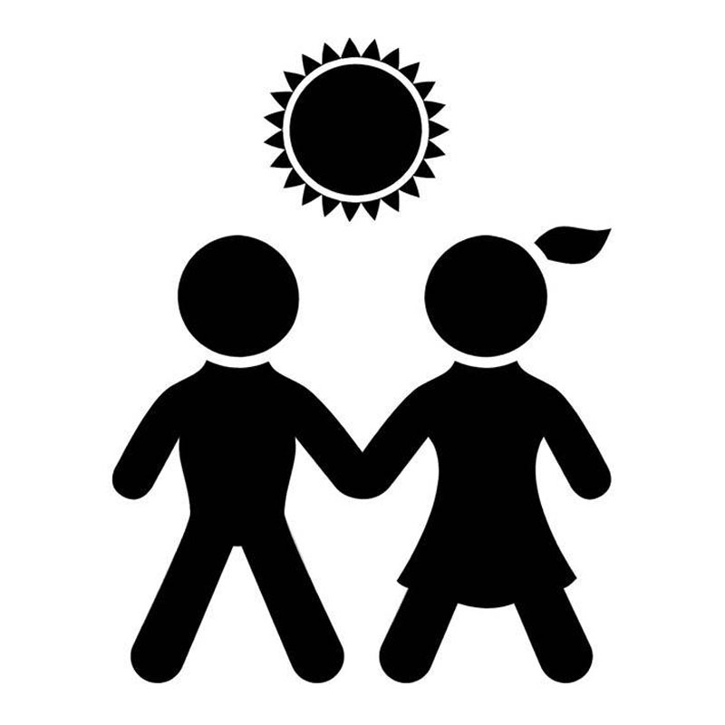 13.2cm*17cm Boy And Girl Holding Hands Fashion Car Sticker Vinyl Decal Black/Silver S3-6774