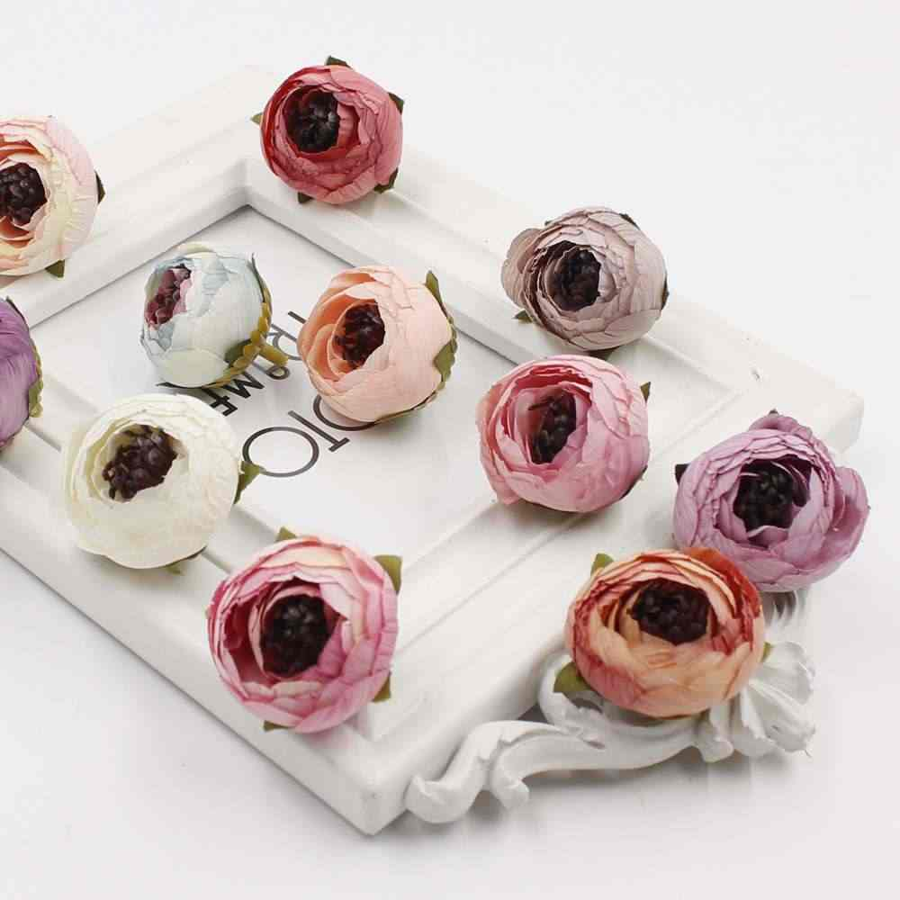 5pcs high quality 3cm new rayon rose tea bud flower wedding decoration DIY gift garland scrapbooking crafts