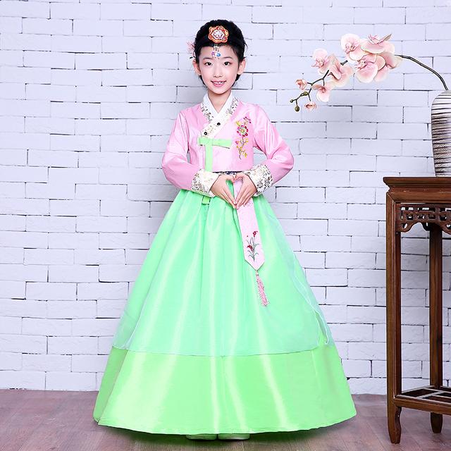 Novo design hanbok hanbok coreano manga longa de Alta qualidade 4 cores Ásia & Roupas Meninas Coreanas Vestido Nacional Das Ilhas Do Pacífico