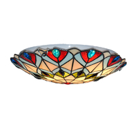 European Style Peacock Tail Flush Mount Lights 16 Vintage Tiffany Stained Glass Ceiling Lamp For Bar