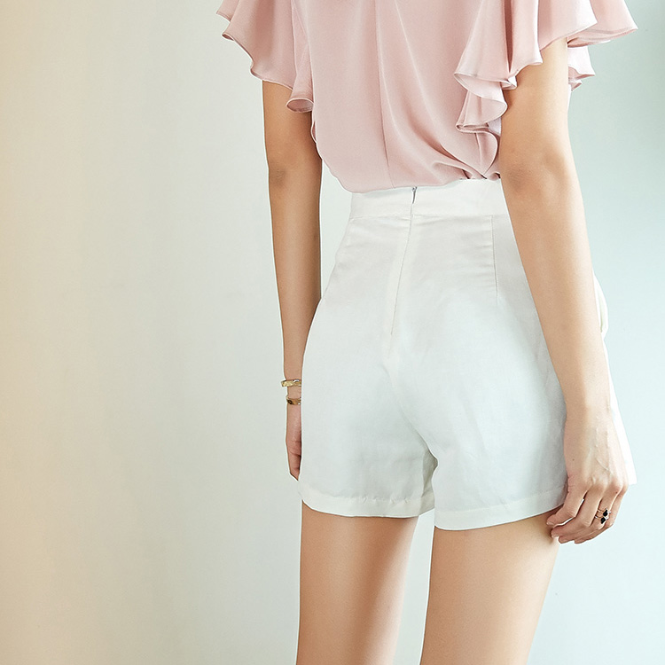 Shorts di Seta delle donne di Seta Reale di 50% 50% Cotone Bianco pantaloni di scarsità della signora Dell'ufficio OL di stile 2017 di Estate Nuovo-in Pantaloncini da Abbigliamento da donna su  Gruppo 3