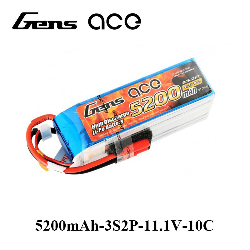 Gens ace Lipo Battery 3S 5200mAh Lipo 11.1V Battery Pack 3.5mm Banana Connector 10C Battery FPV Hobbies RC Models Accessories gens ace lipo battery 3s 5200mah lipo 11 1v battery pack 3 5mm banana connector 10c battery fpv hobbies rc models accessories