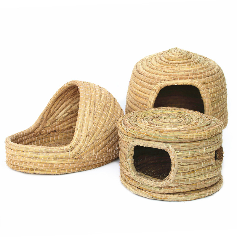 Small Pet Natural Grass Nest Comfortable Grass House For Rabbit Guinea Pig Pigeon Pet Supplies With Windows Removable