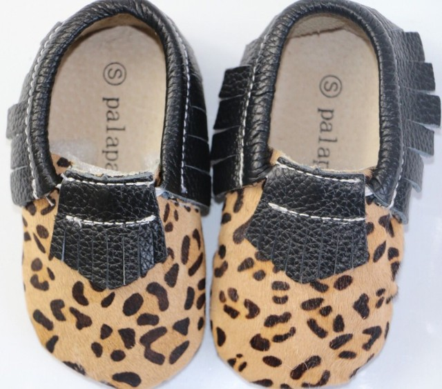 Top Quality 100% Genuine leather horse hair Baby Girls Shoes Leopard fringe Infant Soft Sole First Walker boys moccasins Shoes