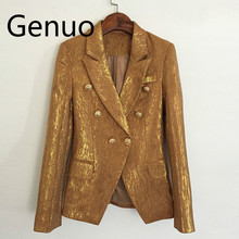 Hight Quality New Fashion 2019 Designer Blazer Jacket Womens Lion Metal Buttons Double Breasted Outer Coat Gold