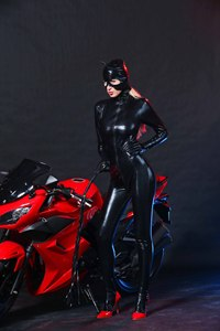 Image 5 - Women Black Faux Leather Catsuit Sexy Catwoman Costume Cat Cosplay Footed Jumpsuit Stretchable 2 Way Zipper Bodysuit With Mask