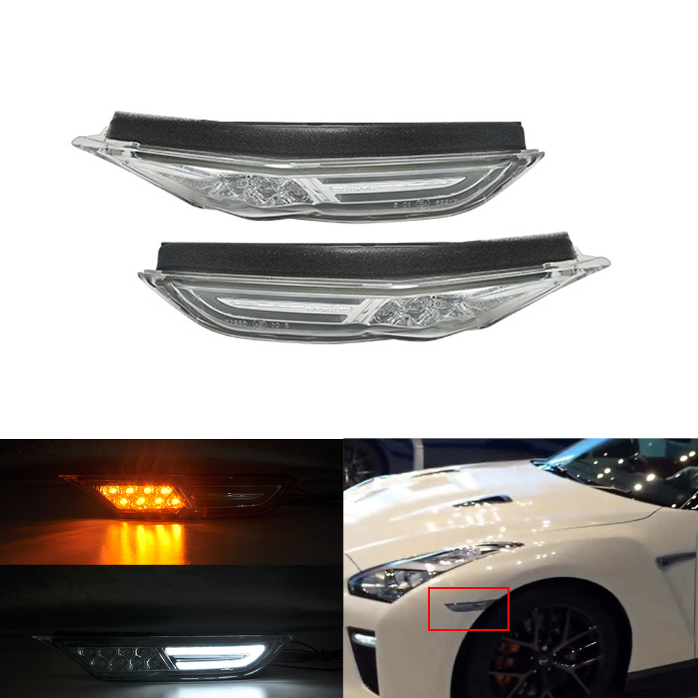 UNIVERSAL YELLOW LED SIGNAL SIDE MARKER LIGHT PAIR ACURA AUDI BMW CADILLAC CHEVY