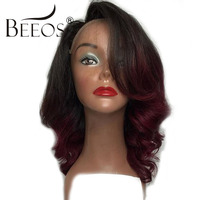 BEEOS Red Ombre Human Hair Lace Front Wigs 150% Peruvian Remy Hair Wavy Lace Wigs 10 20 Inch Wigs With Baby Hair For Women