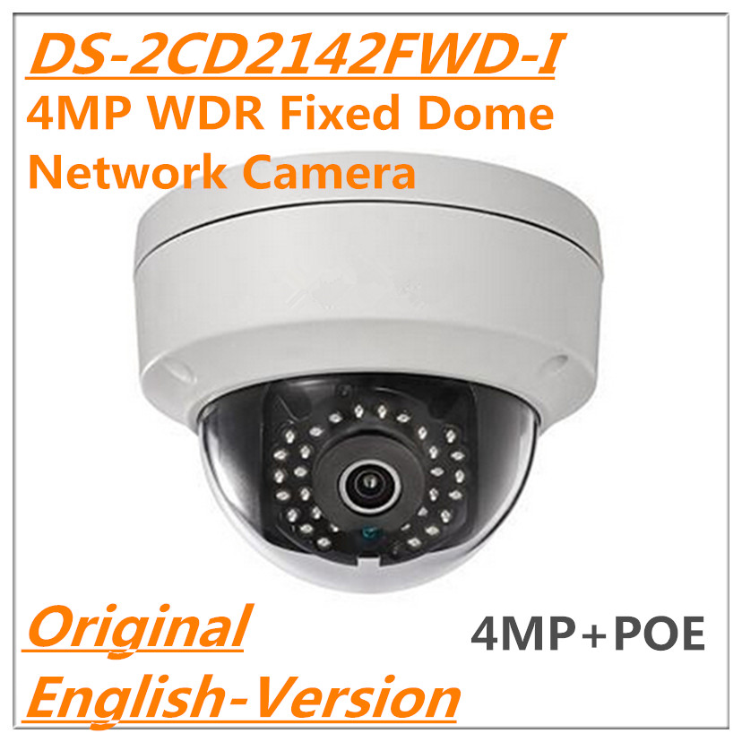 Original English version DS-2CD2142FD-I 4MP WDR Fixed mini Dome Network IP Camera Security Camera H.264+ micro-SD card slot  POE free shipping in stock new arrival english version ds 2cd2142fwd iws 4mp wdr fixed dome with wifi network camera