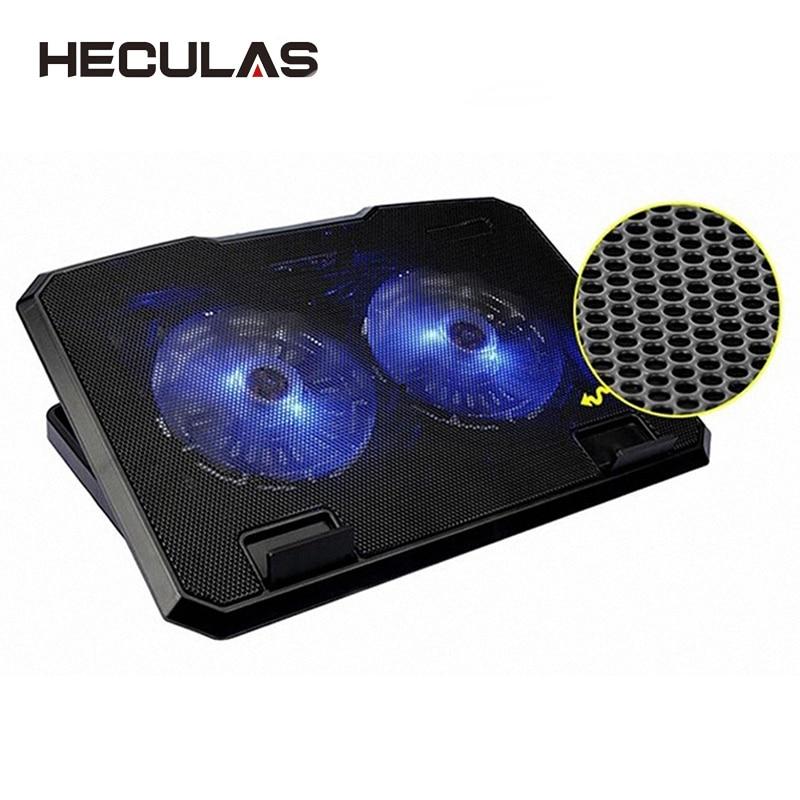 HECULAS Notebook Cooler Laptop Cooling Fan Adjsutable Double Fans Base Led Light Cooling Pad Stand for 11-15.6 Inch Laptop cooling pad for laptop aluminum cooling laptop stand fan cooler 2 uab port base support 5 fans led for 12 15 15 6 17 inch