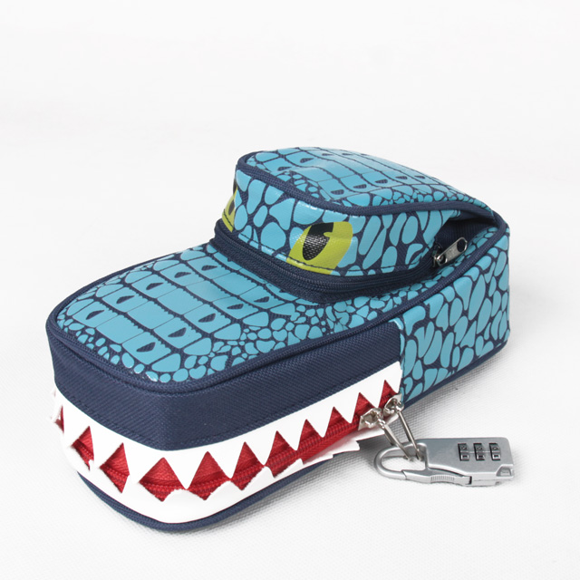 High quality pencil box case simple creative lovely animal style pencil box with password lock pencil bag student supplies big capacity high quality canvas shark double layers pen pencil holder makeup case bag for school student with combination coded lock