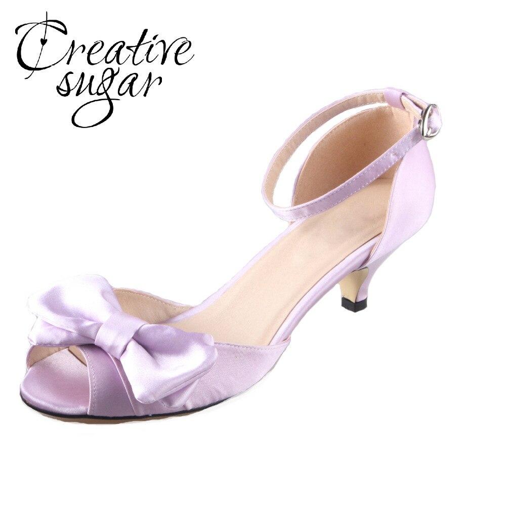Lavender sandals shoes - Creativesugar Handmade Lavender Dress Big Bow Woman Shoes Wedding Bridal Pumps Quinceanera Princess Birthday Low Heels