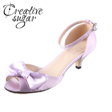 Creativesugar Handmade lavender costume huge bow lady sneakers wedding ceremony bridal pumps quinceanera princess birthday low heels woman's