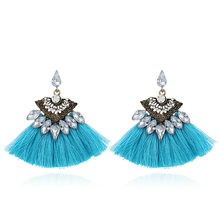 Hot 2018 Bohemia Dangle Drop Earrings for Women Accessories Fan Shaped Cotton Handmade Tassels Fringed Earrings Ethnic Jewelry(China)