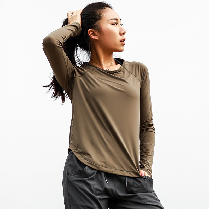 Mermaid Curve Women's Autumn Yoga T-shirt Loose Solid Color Sports Tops Long Sleeves Breathable Mesh Quick Dry O-neck Sportswear